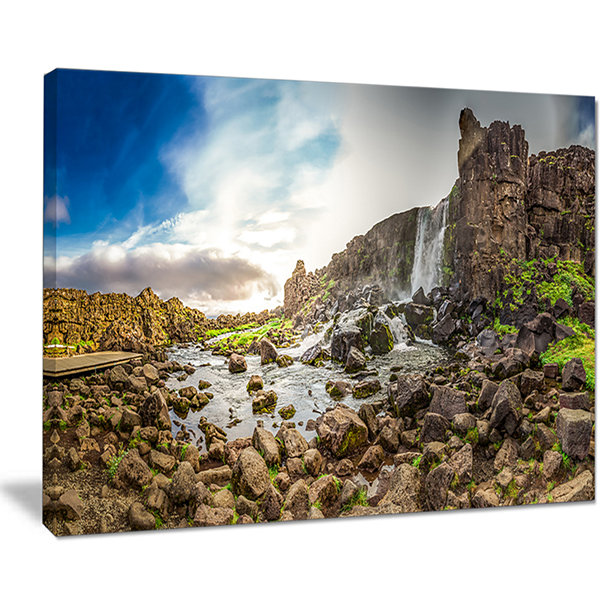 Designart Rocky Waterfall In Mountains Iceland Canvas Art