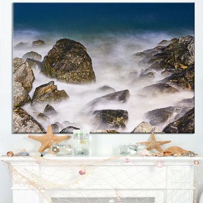 Designart Rocky Waves At Haeundae Coast Busan Canvas Art