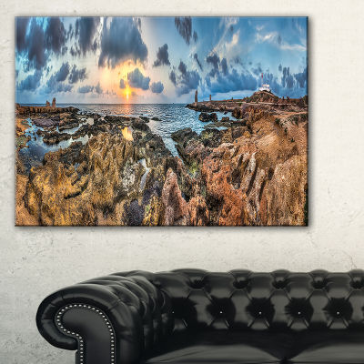 Designart Rocky With Historic Ruins Evening Canvas Art