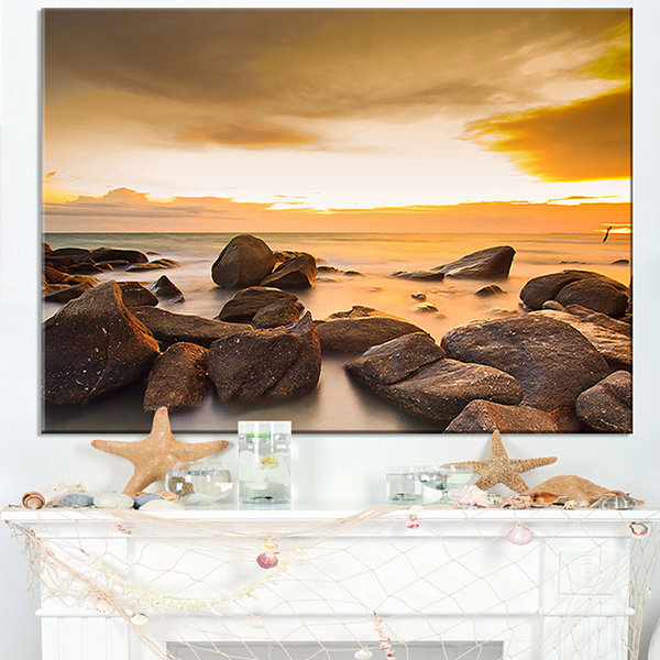 Designart Rocky Yellow Tropical Beach Canvas Art