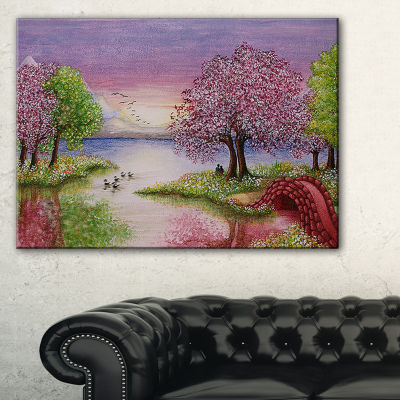 Designart Romantic Lake In Pink And Green Canvas Art