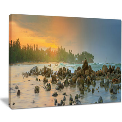 Designart Romantic Untouched Beach Sunset Canvas Art