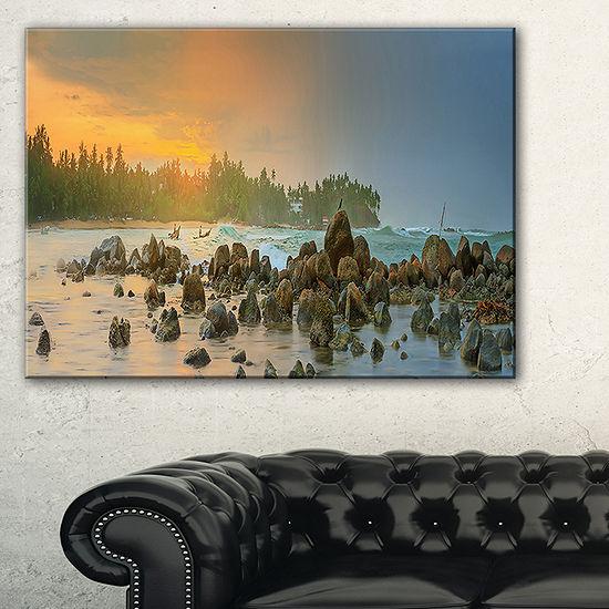 Designart Romantic Untouched Beach Sunset Canvas Art