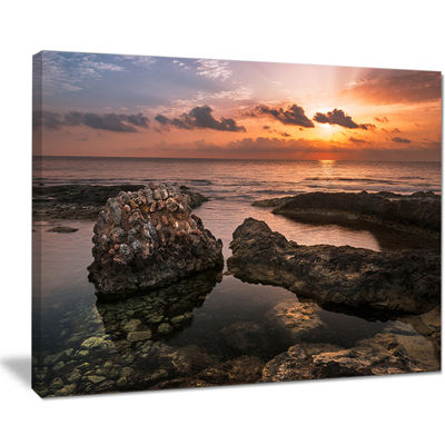 Designart Rough Coast With Ancient Ruins Canvas Art