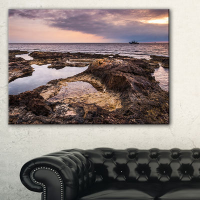 Designart Rough Rocky Coastline Africa Canvas Art