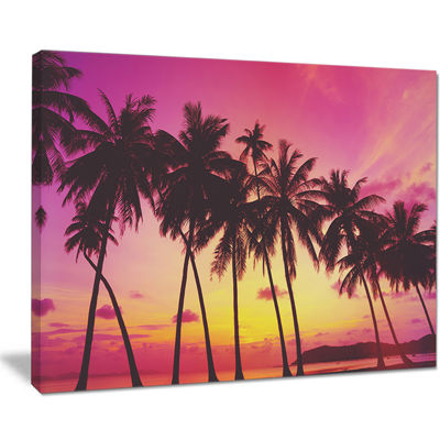Designart Row Of Beautiful Palms Under Magenta Sky Canvas Art