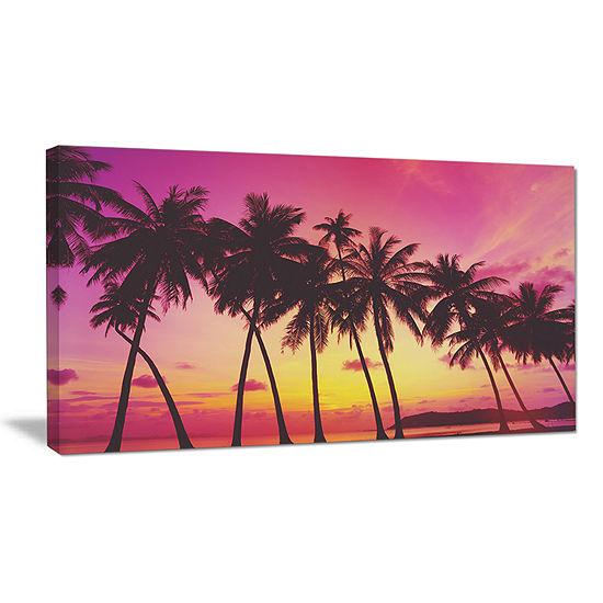 Designart Row Of Beautiful Palms Under Magenta Sky Canvas Art
