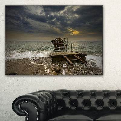 Designart Ruined Wooden Pier For Boats At Sunset Canvas Art