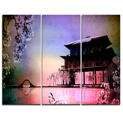 Designart Rural Landscape With Flowers 3-pc. Canvas Art