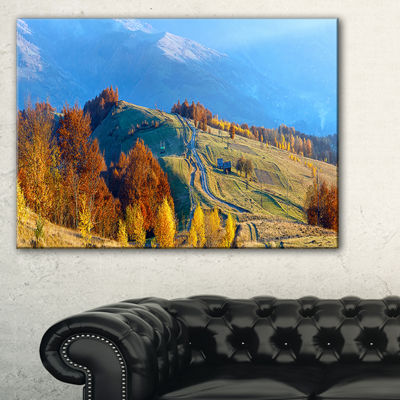 Designart Rural Road On Autumn Mountains Canvas Art
