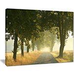 Designart Rural Road Under Big Green Trees Canvas Art