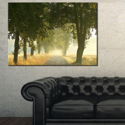 Designart Rural Road Under Big Green Trees Canvas Art