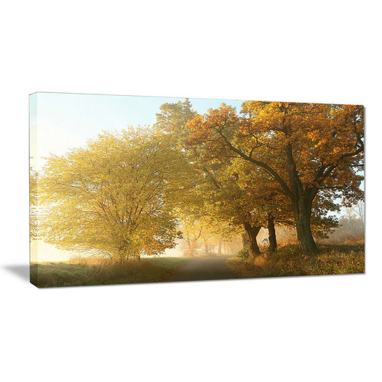 Designart Rural Road Under Green Trees Canvas Art