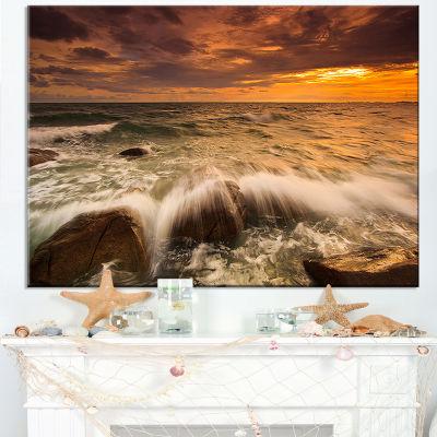 Designart Rushing Ocean Waves Into Rocks Canvas Art