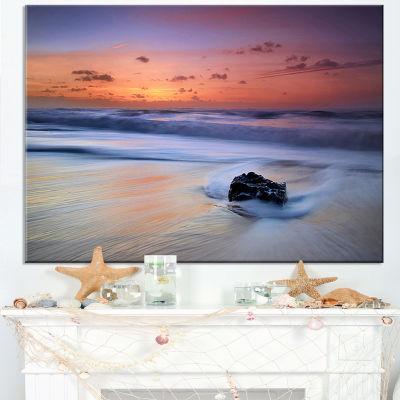 Designart Rushing Waves At Beach Magoito Sintra Canvas Art