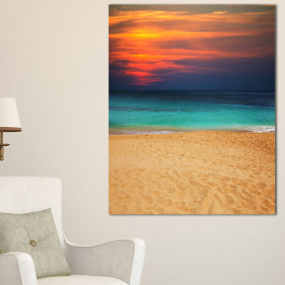 Designart Sand To Sky Colorful Seashore Canvas Art