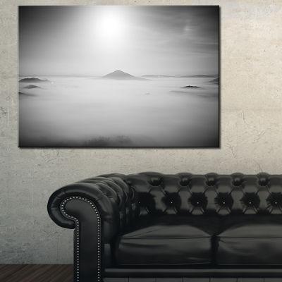 Designart Sandstone Hills And Peaks In Fog Canvas Art
