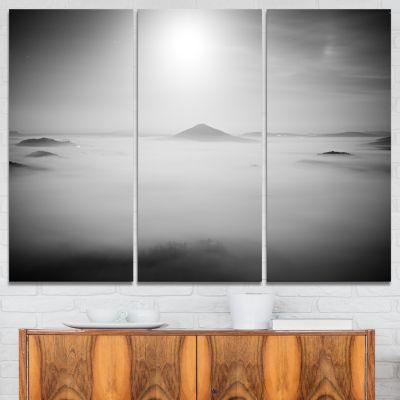 Designart Sandstone Hills And Peaks In Fog 3-pc. Canvas Art