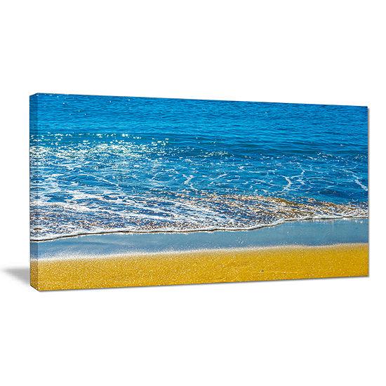 Designart Sandy Beach And Calm Blue Sea Surf Canvas Art