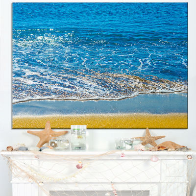 Designart Sandy Beach And Calm Blue Sea Surf Canvas Art