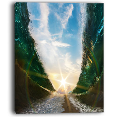 Designart Sandy Path To The Sun In Parted Sea Canvas Art