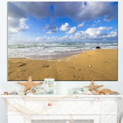 Designart Sea Beach On Cloudy Winter Day Canvas Art