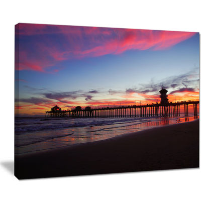 Designart Sea Bridge In California With Red Clouds Canvas Art