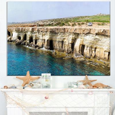 Designart Sea Caves Near Cape Greko Panorama Canvas Art
