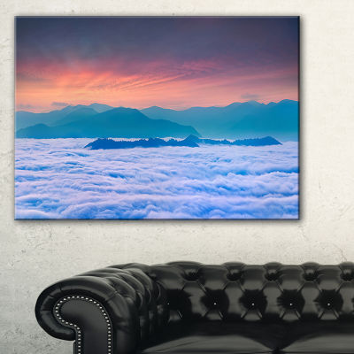 Designart Sea Of White Fog And Mountains Canvas Art