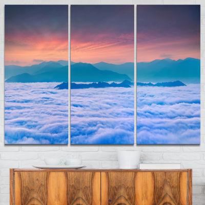 Designart Sea Of White Fog And Mountains 3-pc. Canvas Art