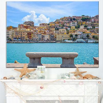 Designart Seafront Bench In Port Santo Stefano Canvas Art