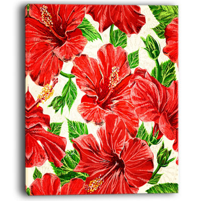 Designart Seamless Hibiscus Flowers Pattern Canvas Art