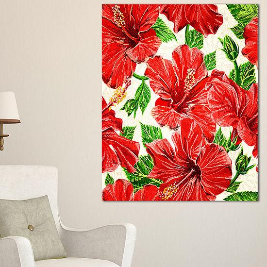 Designart Seamless Hibiscus Flowers Pattern Canvas Art