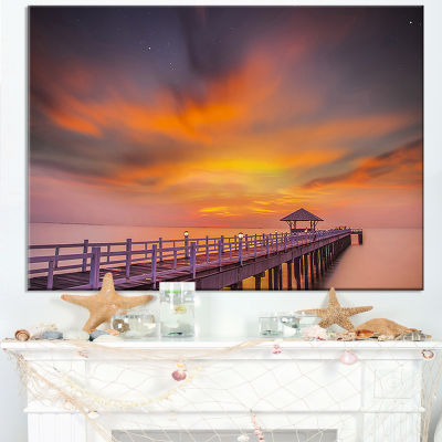 Designart Seashore With Long Wooden Pier Canvas Art