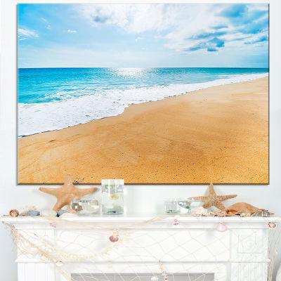 Designart Serene Beach And Sun Daylight Canvas Art