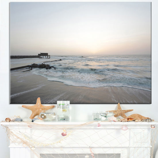 Designart Serene Blue Beach With White Sun Canvas Art