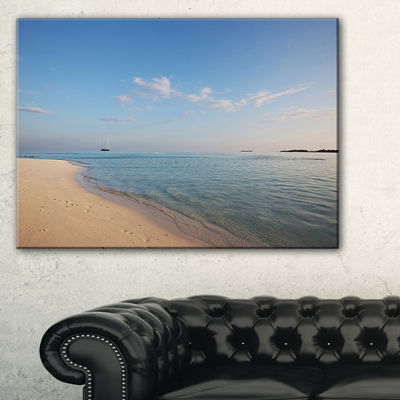 Designart Serene Maldives Beach With Plain Sky Canvas Art