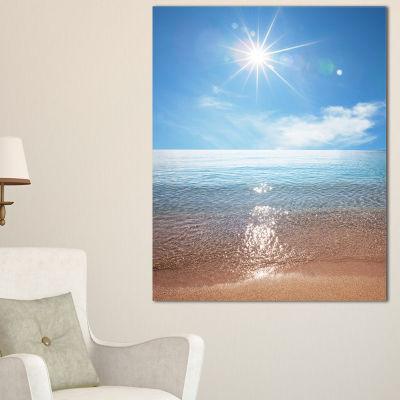 Designart Serene Seascape With Bright Sun Canvas Art