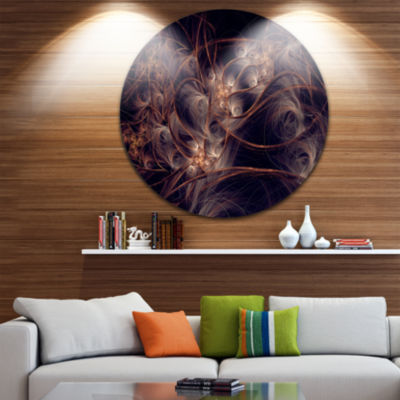 Designart Dark Golden Digital Art Fractal Flower Floral Metal Circle Wall Art