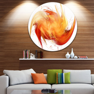 Designart Brown Abstract Fractal PatternAbstract Metal Circle Wall Art
