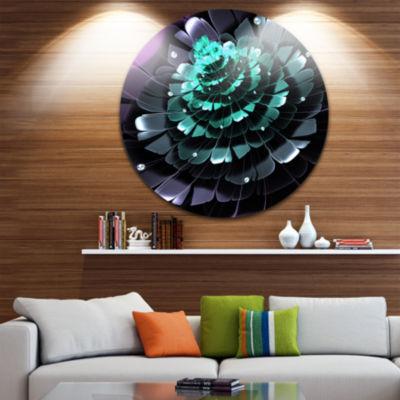 Designart Purple Blue Digital Art Fractal Flower Floral Metal Circle Wall Art