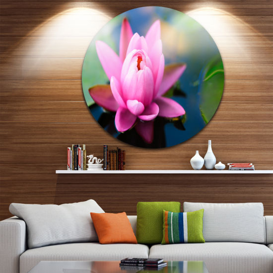 Designart Large Lotus Flower in the Pond Floral Metal Circle Wall Art