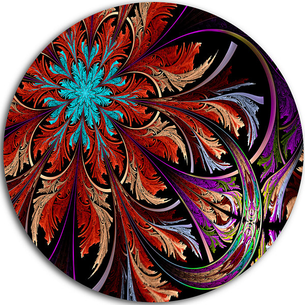 Designart Fractal Flower in Dark Red Digital Art Floral Metal Circle Wall Art