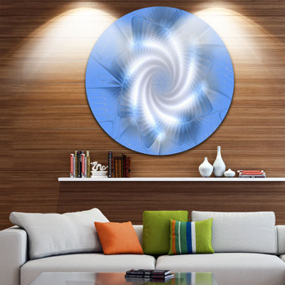 Designart White and Blue Fractal Star Flower Floral Metal Circle Wall Art