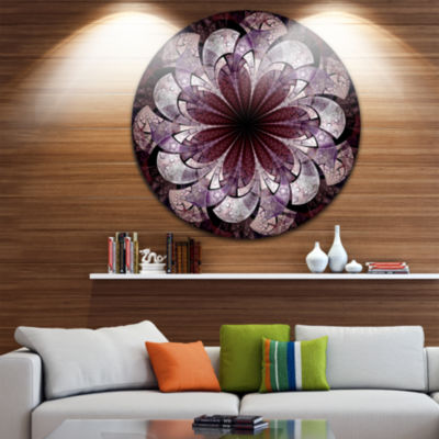 Designart Soft Pink Digital Art Fractal Flower Floral Metal Circle Wall Art
