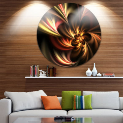 Designart Glossy Yellow and Red Fractal Flower Floral Metal Circle Wall Art