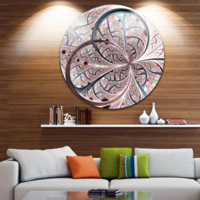 Designart Light Blue Purple Digital Art Fractal Flower Floral Metal Circle Wall Art