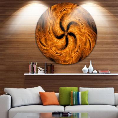 Designart Brown Fire Fractal Flower Design FloralMetal Circle Wall Art
