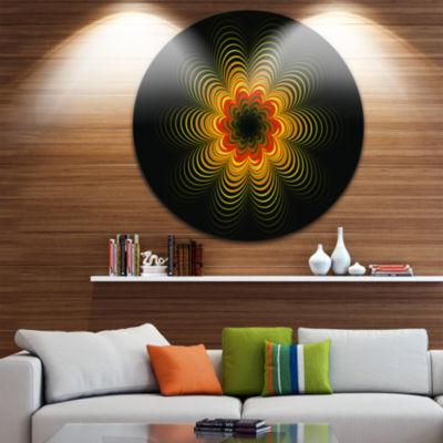 Designart Psychedelic Yellow Fractal Flower FloralMetal Circle Wall Art