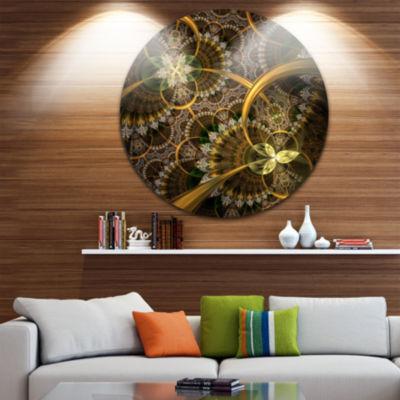 Designart Dark Green Gold Digital Art Fractal Flower Floral Metal Circle Wall Art